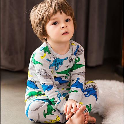 Детская трикотажная пижама на мальчика артикул 703 серые динозавры, фото 2