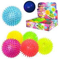 Мяч массажный MS 1137-3 8,5см, свет, пищалка,на бат (таб),12 шт (6цветов,) в дисплее 34-25-9 см