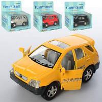 Машинка KT 4008 W металл,инер-я,9,5см, резин.колеса, открыв.двери,4цв, в кор-ке 13-12-6,5см