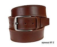 Ремень кожаный джинсовый двойная строчка SULLIVAN  RMK-111(9) 115-150 см светло-коричневый
