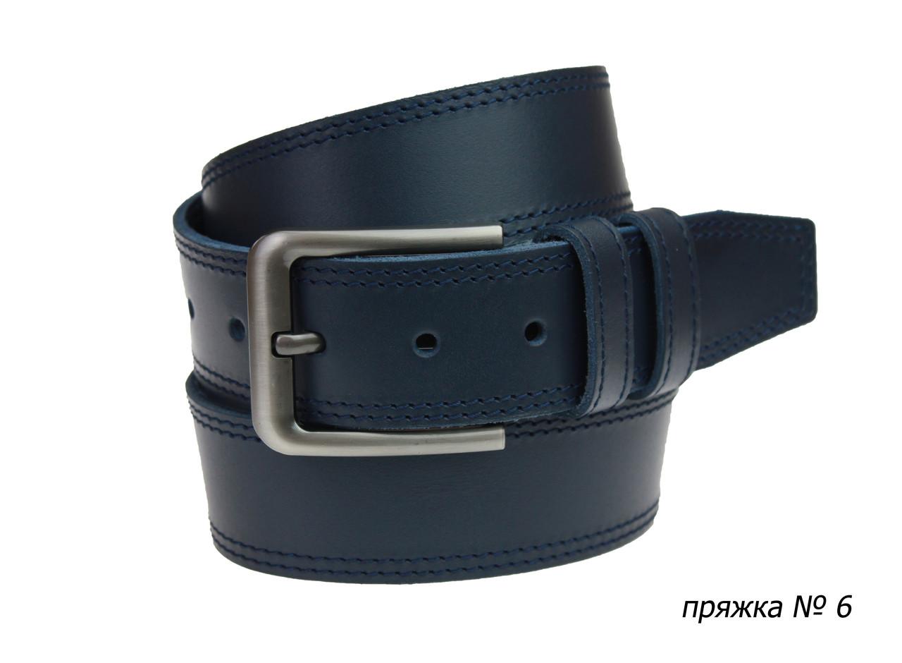 Ремень кожаный джинсовый двойная строчка SULLIVAN  RMK-81(8) 115-150 см синий