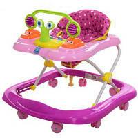 Ходунки M 3663 BAMBI музика, світло, колеса 8 шт, стопор 2 шт,рожевий