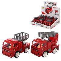 Пожарная машина 8814 инер-я, 10см, подвиж.детали, рез.колеса,10шт(2вид)в дисплее 32-9-25,5см (ЦЕНА ЗА ДИСПЛЕЙ)