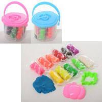 Тесто для лепки MK 2718 12цветов(в стиках),крышка-часы,2формочки,аром,2цв,в ведре 9-7-9см
