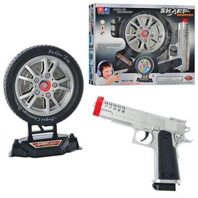 Тир 2148 (48шт) пістолет з мішенню муз світ на бат-ке, в кор-ке, 31-26-6 см