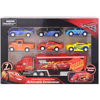 "Набор машин ""Тачки"" 17616-14 с грузовиком в коробке 30 см x 7 см x 21 см"
