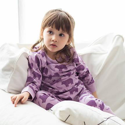 Детская трикотажная пижама на девочку артикул 707 фиолетовые мишки, фото 2