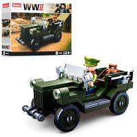 Конструктор SLUBAN M38-B0682 военный, машина, фигурка, 112 дет, в кор-ке 19-14-4,5 см