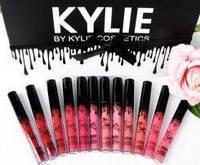 Набор жидких матовых помад Kylie Black edition 12 штук, фото 1
