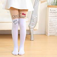 """Капронові Колготки дитячі білі """"Hello Kitty"""", фото 1"""
