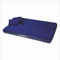 Надувной двуспальный матрас велюровый синий + надувные подушки и насос 68765 SH INTEX 203х152х22, фото 1
