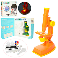 Зеленый микроскоп на батарейках KM 3102 C 20 см, инструменты, линзы, свет