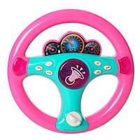 """Музыкальный детский руль 7749 """"Я тоже рулю"""" Розовый"""