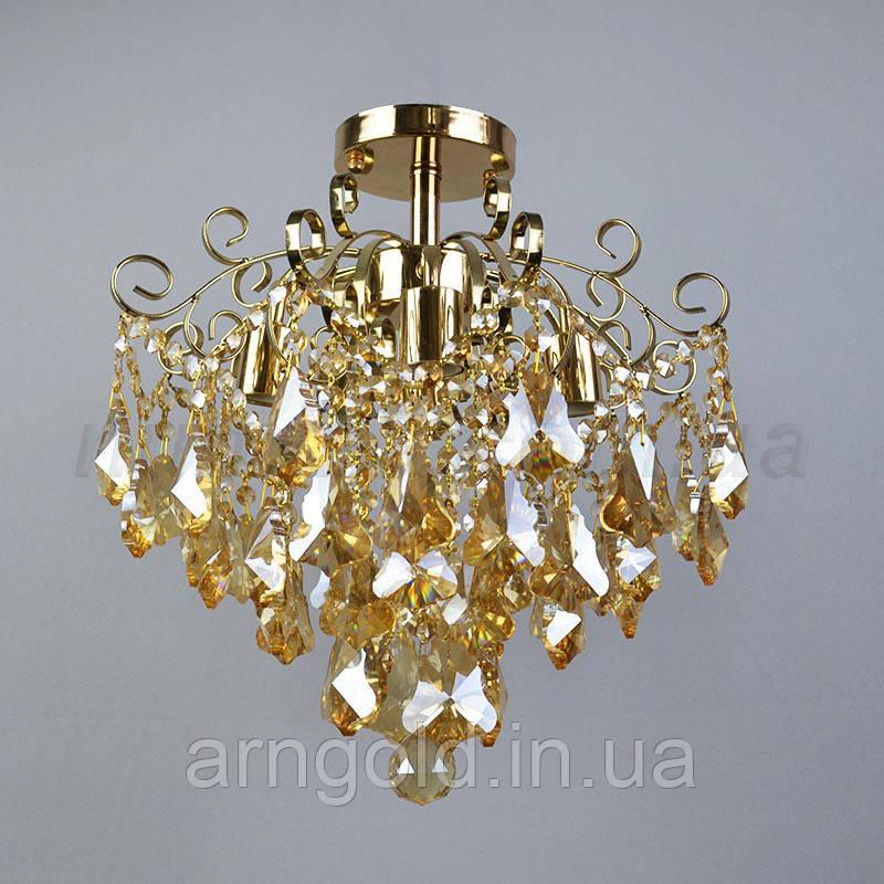 Люстра хрустальная классическая на 4 лампы золото QH-E0782/4