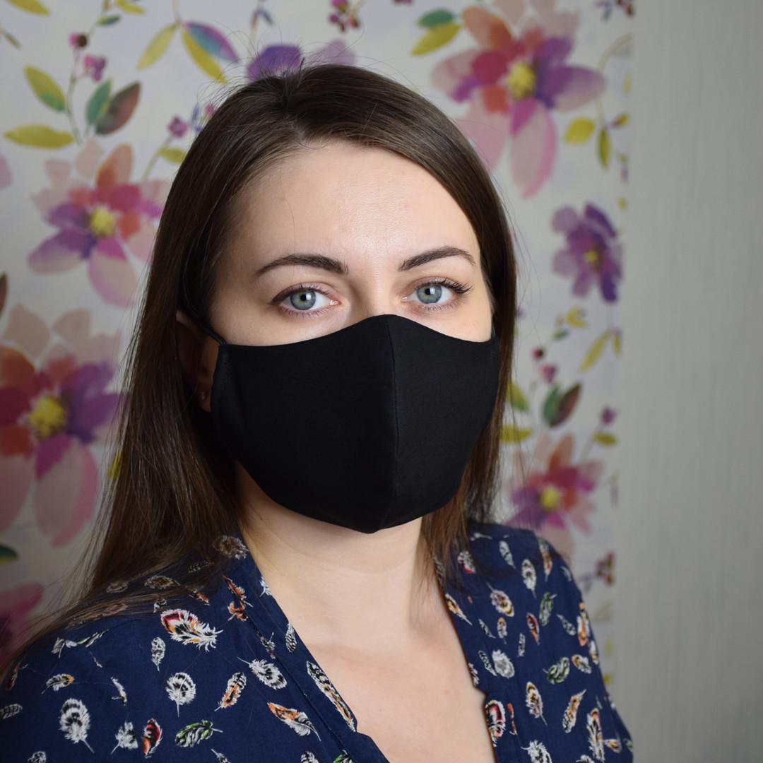 5 шт. черная маска защитная набор трехслойная, многоразовая, хлопковая