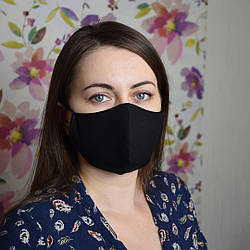 5 шт. черная маска защитная набор трехслойная, многоразовая, хлопковая. Отправка в день заказа