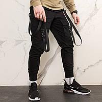 Черные карго штаны с лямками ТОП