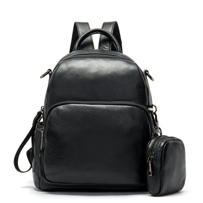 Рюкзак кожаный женский флотар Vintage 14865 Черный, Черный