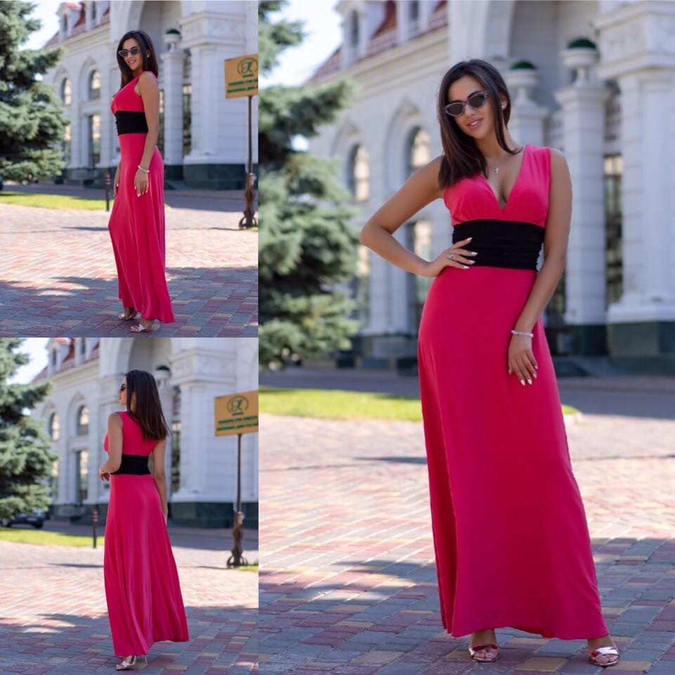 Нарядное платье макси с широким поясом на резинке,выгодно подчеркнет талию,5цвета,  р-р.42-46 код 191Д