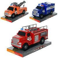 Машинка 328-41-42-43 инер-я, 21,5см,3вида(полиция,пожарн,эвакуатор), в слюде