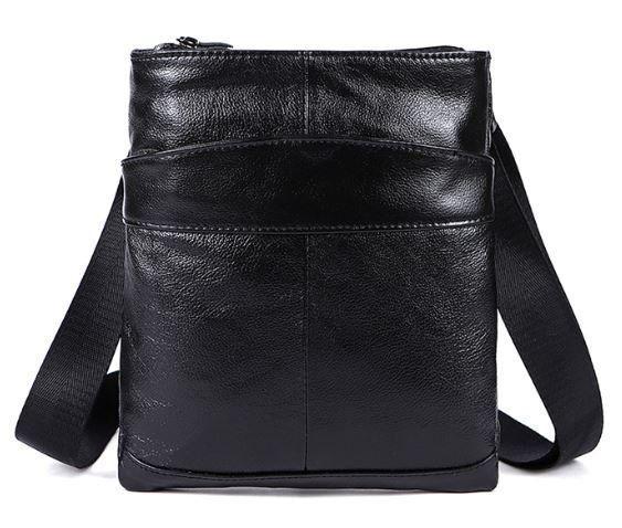 Сумка мужская кожаная Vintage 14850 Черная матовая, Черный