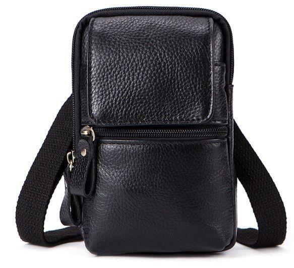 Сумка маленькая мужская кожаная Vintage 14859 Черная, Черный