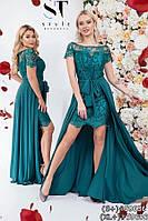 Женское вечернее платье двойка в пол с гипюром. Размер 42-52