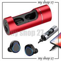 Беспроводные Bluetooth наушники Wireless Earbuds K08, ПоверБанк + Наушники беспроводные, красный