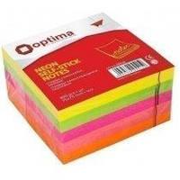 Блок бумаги для заметок Блок бумаги для заметок с клейким слоем 75х75 мм 400 листов неон микс Optima O25515