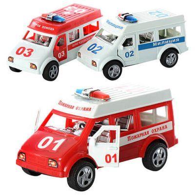 Набор машин инерционных 731ABC-1 (120шт/2) 3 вида, милиция, скорая, пожарная, в пакете 25*13*12см
