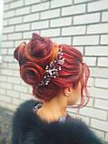 Хрустальный гребень для волос с серебряными листочками, фото 3