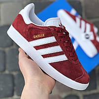 Кросівки Жіночі та Чоловічі Adidas Gazelle Червона Замша Топ (36-41)