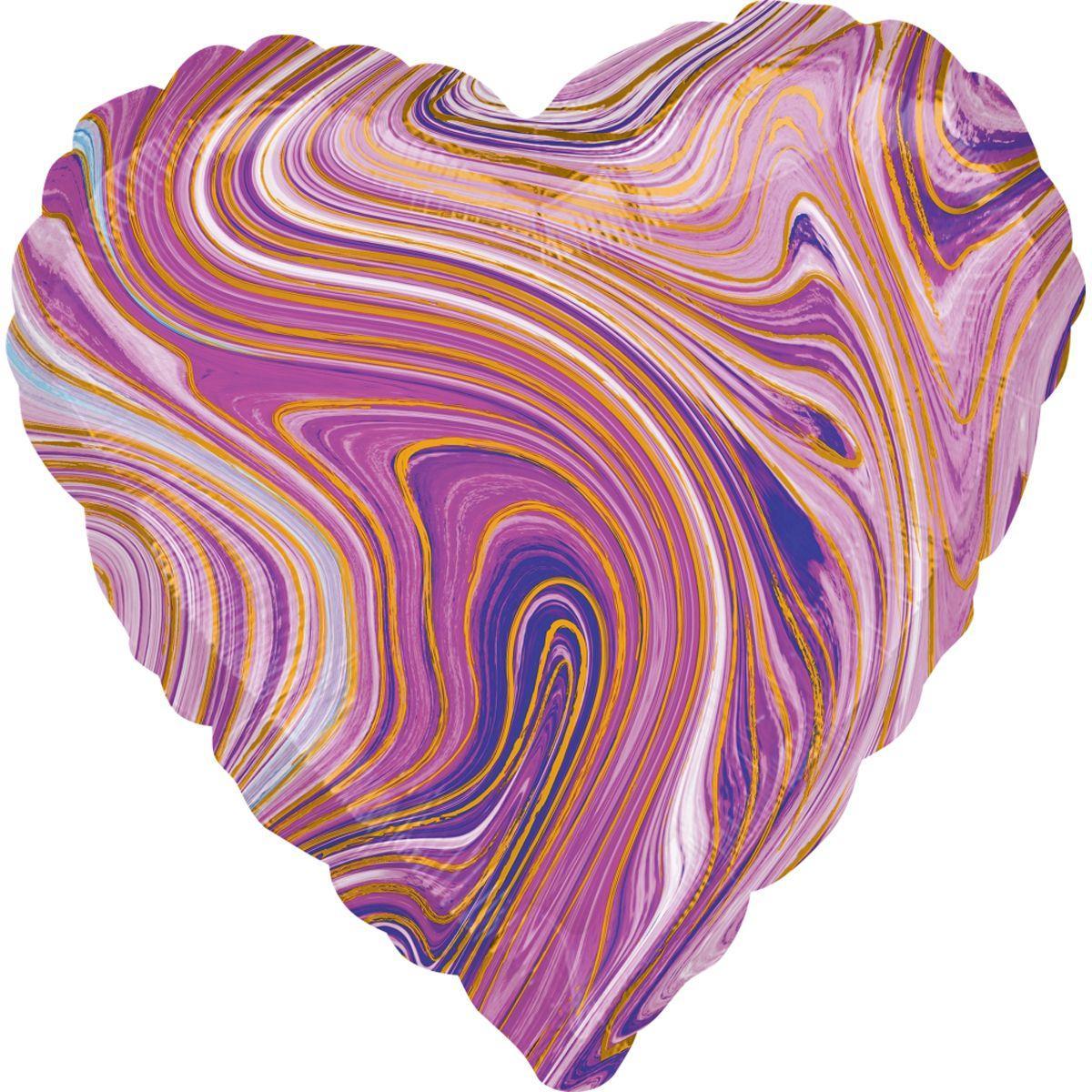 """Фольгована кулька серце агат фіолетовий purple marble  18"""" Anagram"""