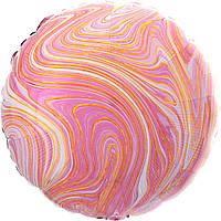 """Фольгована кулька круг агат агат рожевий pink marble  18"""" Anagram"""