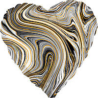 "Фольгована кулька серце агат черний black marble  18"" Anagram"