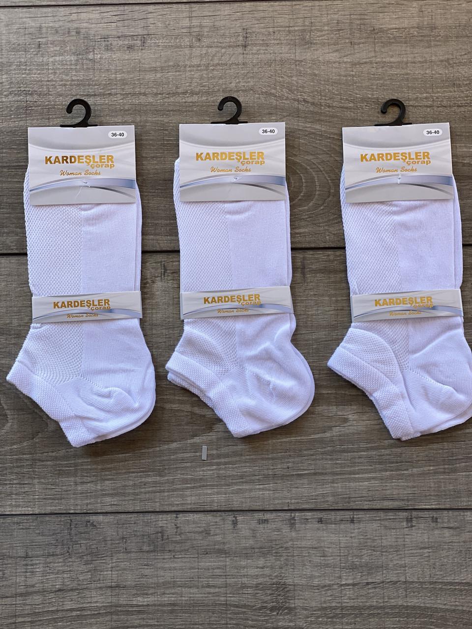 Женские носки котоновые в сетку Kardesler 36-40 12 шт в уп микс цветов белые