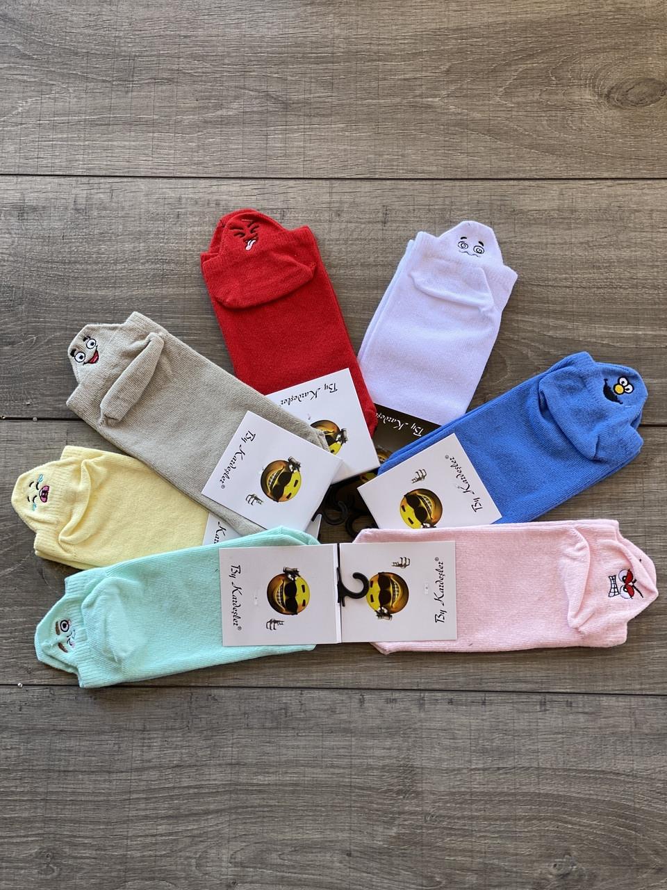 Короткі жіночі шкарпетки бавовна Kardesler з вишитими смайликами 35-40 12 шт в уп мікс 7 кольорів