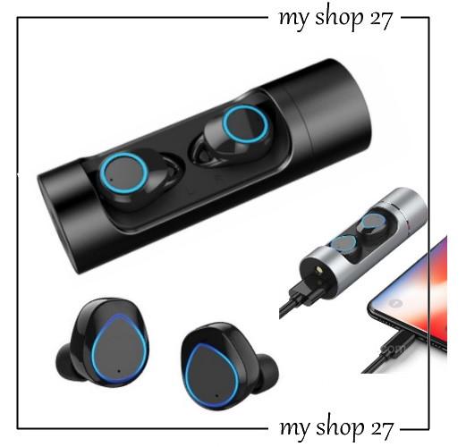Беспроводные мини наушники Wireless Bluetooth Music Earphone K08 в кейсе с фонариком, павербанком, черные
