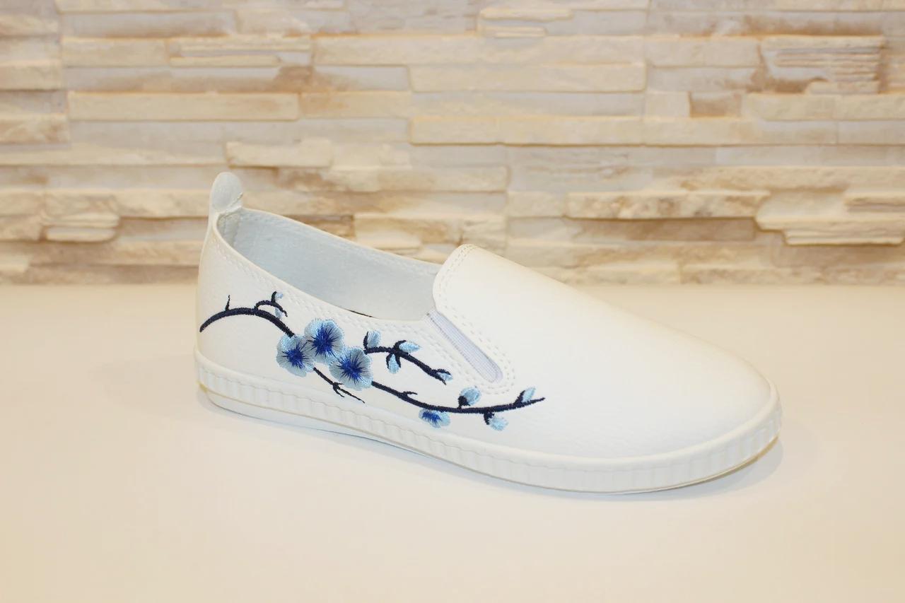 Слипоны женские белые с вышивкой Сакура код Т225