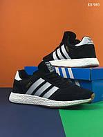 Мужские кроссовки в стиле Adidas Iniki, черные с белым 44(28 см), последний размер