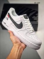 Мужские кроссовки в стиле Nike Air force 1 x Supreme x The North Face, кожа, полиуретан, белые с черным 41 (стелька 26 см)