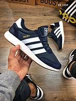 Мужские кроссовки в стиле Adidas Iniki Runner, замша, сетка, синие 45(29 см), размеры:43,44,45