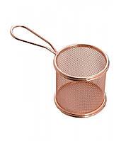 Фритюрница нержавеющая круглая для сервировки бронзого цвета Ø 90 мм (шт) (E6381)