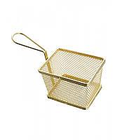 Фритюрница нержавеющая прямоугольная для сервировки золотого цвета 102*72*74 мм (шт) (E6391)