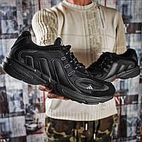 Мужские кроссовки в стиле Adidas Galaxy, текстиль, замша, пена, черные 41 (26,2 см)