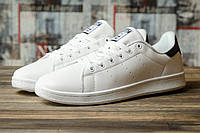 Мужские кроссовки в стиле Adidas Stan Smith, кожа, пена, белые с черным 46 (стелька 29,5 см)