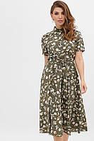 GLEM зеленое платье с цветочным принтом Изольда к/р XL, фото 1