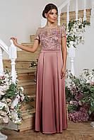 Женское  вечернее платье Лорена розового цвета, фото 1