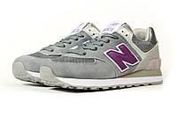 Женские кроссовки в стиле New Balance 574, замша, текстиль, серые с фиолетовым 38(24 см), в наличии:38,40
