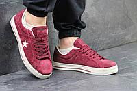Мужские кроссовки в стиле Converse, бордовые 44(28,5 см), последний размер